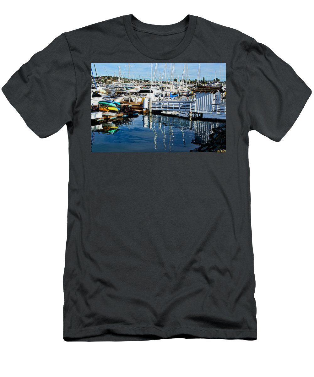 San Diego Men's T-Shirt (Athletic Fit) featuring the photograph Shelter Island Yachts by See My Photos