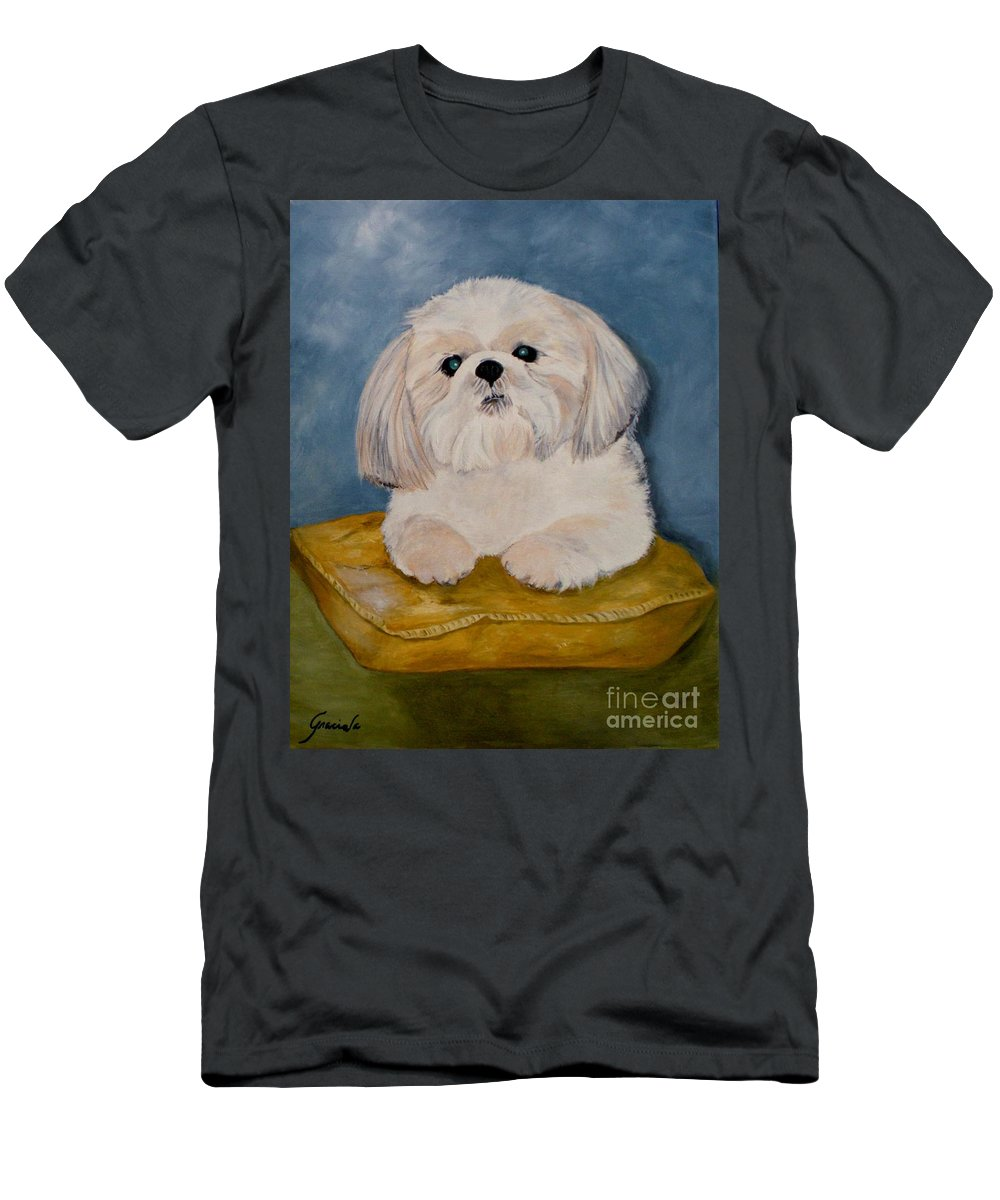 Dog Men's T-Shirt (Athletic Fit) featuring the painting Shihtzu by Graciela Castro