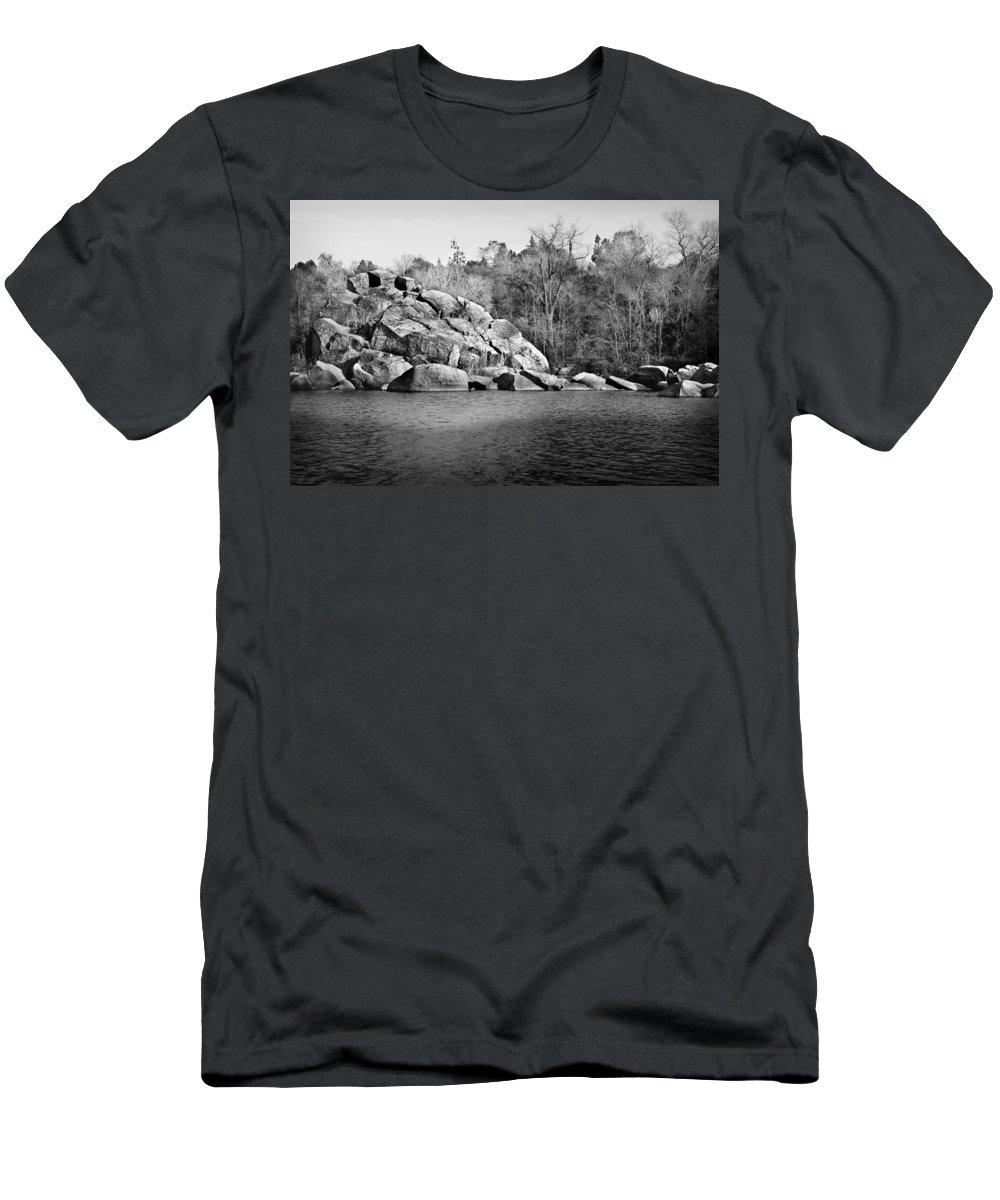 River Men's T-Shirt (Athletic Fit) featuring the photograph Ship Rock Island by Shawn McMillan