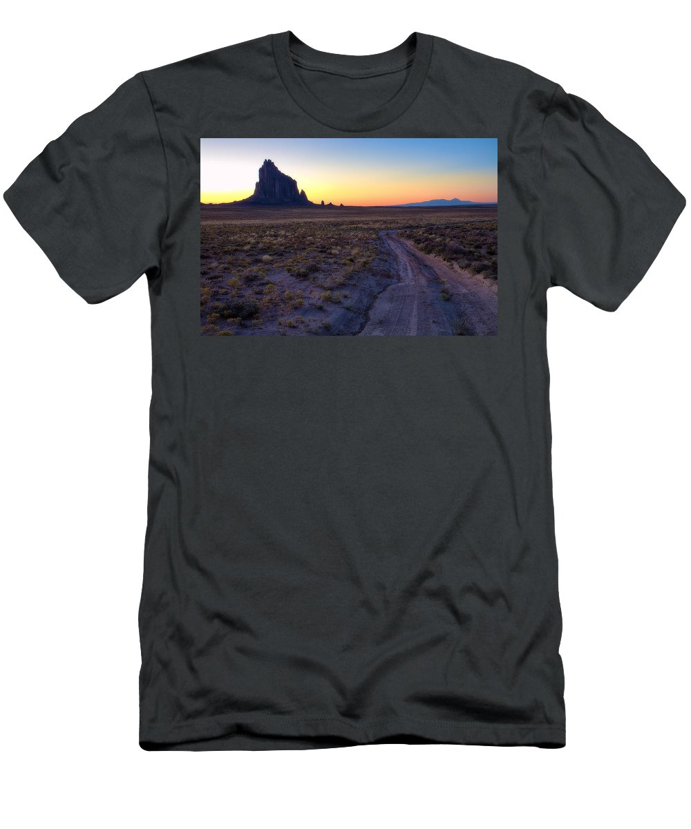 Shiprock Men's T-Shirt (Athletic Fit) featuring the photograph Shiprock Sunset by Pam Colander