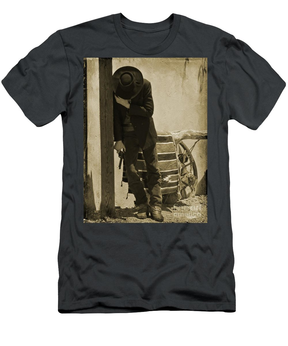Gunslingers Men's T-Shirt (Athletic Fit) featuring the photograph Shot In The Arm by John Malone