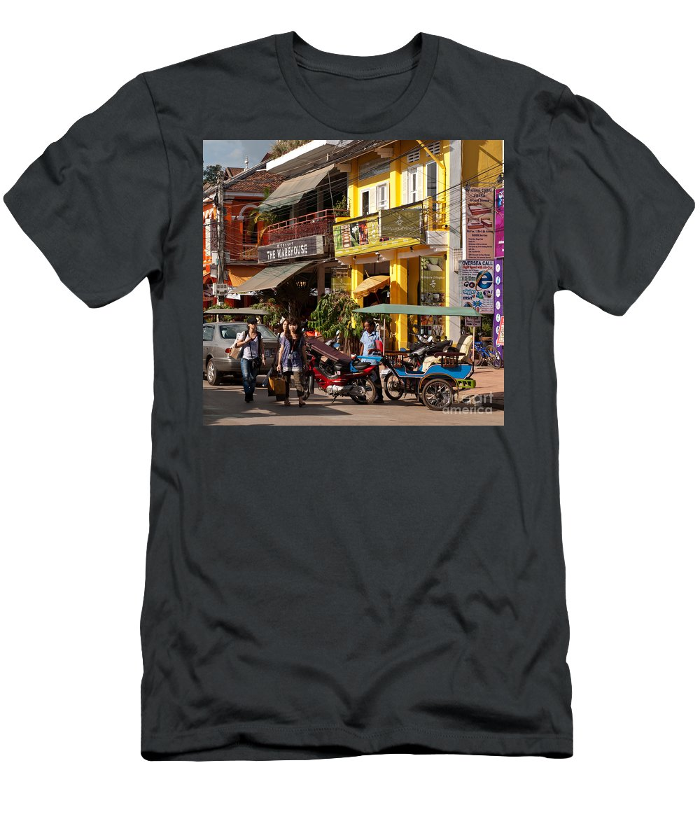 Cambodia Men's T-Shirt (Athletic Fit) featuring the photograph Siem Reap 03 by Rick Piper Photography
