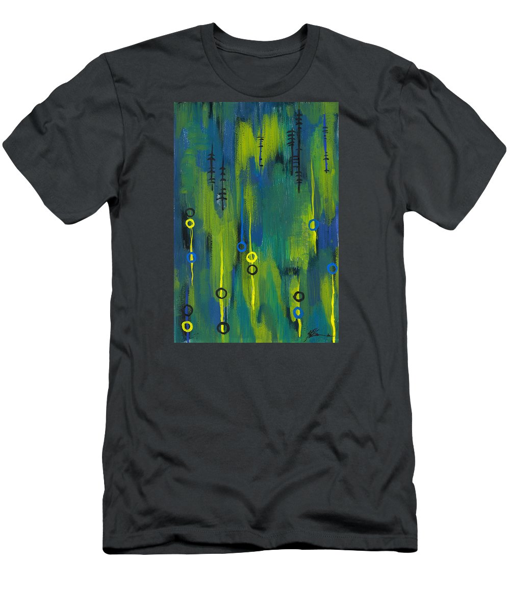 Acrylic Paintings Men's T-Shirt (Athletic Fit) featuring the painting Signals by Aparna Raghunathan