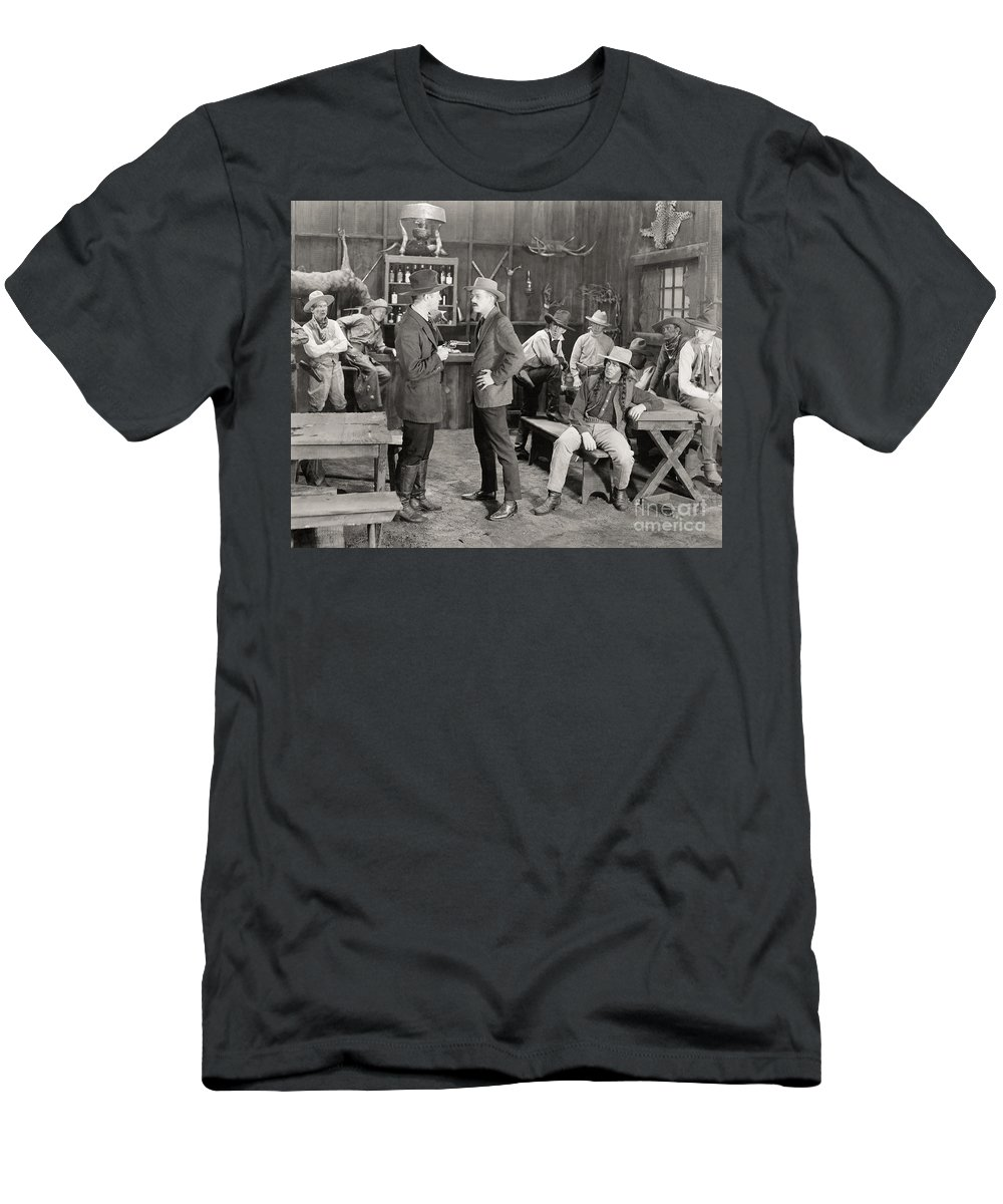 1919 Men's T-Shirt (Athletic Fit) featuring the photograph Silent Film Still: Cowboys by Granger