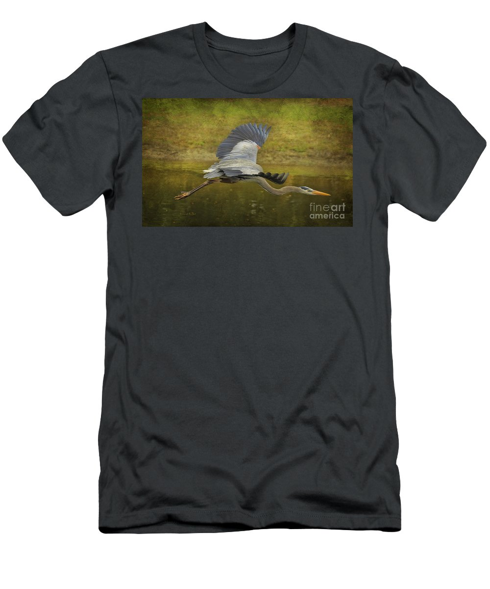Heron Men's T-Shirt (Athletic Fit) featuring the photograph Silent Grace by Deborah Benoit