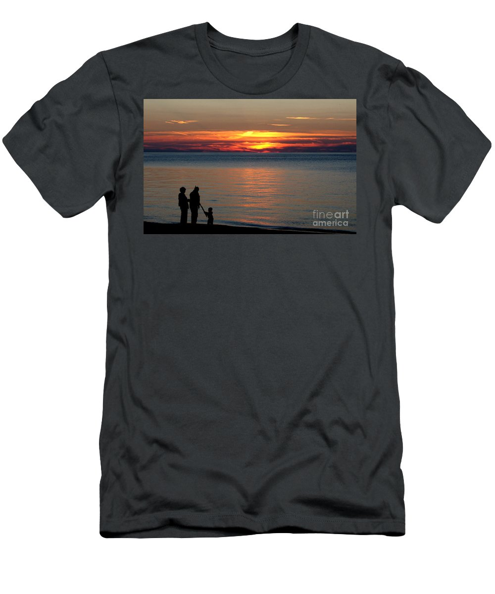 Silhouette Men's T-Shirt (Athletic Fit) featuring the photograph Silhouetted In Sunset At Sturgeon Point Marina by Rose Santuci-Sofranko