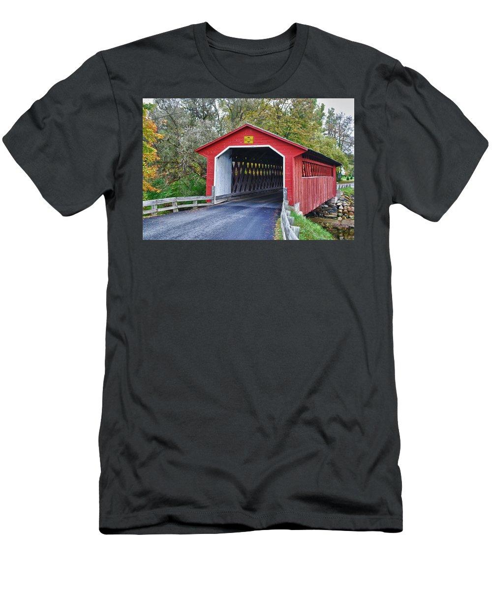 Bennington Men's T-Shirt (Athletic Fit) featuring the photograph Silk Bridge 8258 by Guy Whiteley