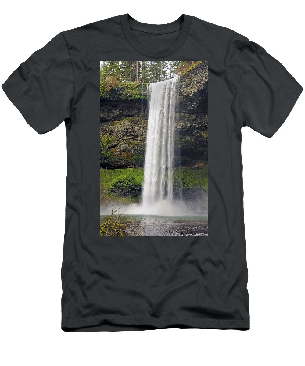 Silver Falls State Park Men's T-Shirt (Athletic Fit) featuring the photograph Silver Falls 2 by Tara Fisher