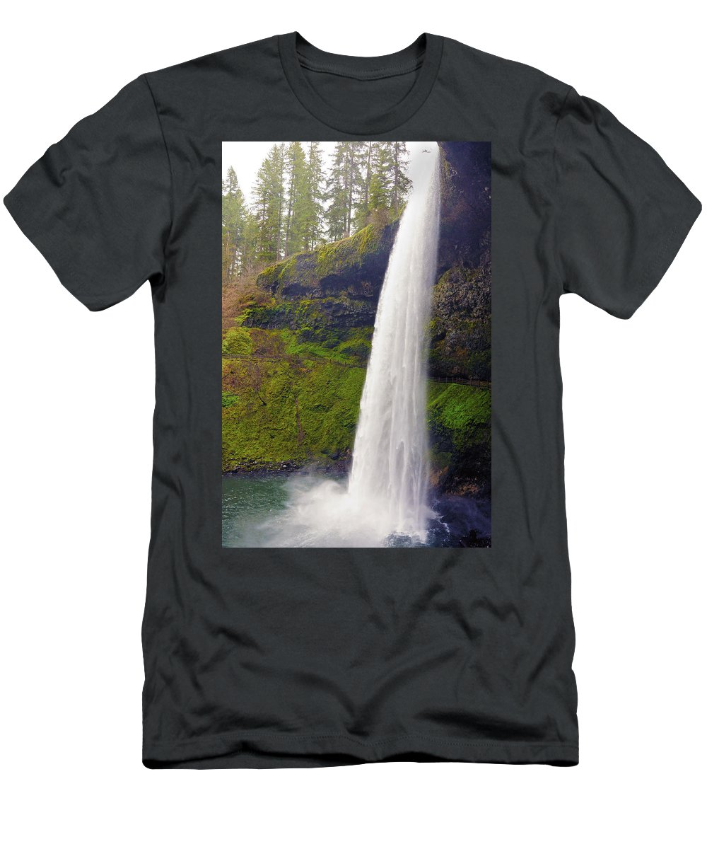 Silver Falls Men's T-Shirt (Athletic Fit) featuring the photograph Silver Falls 3 by Tara Fisher