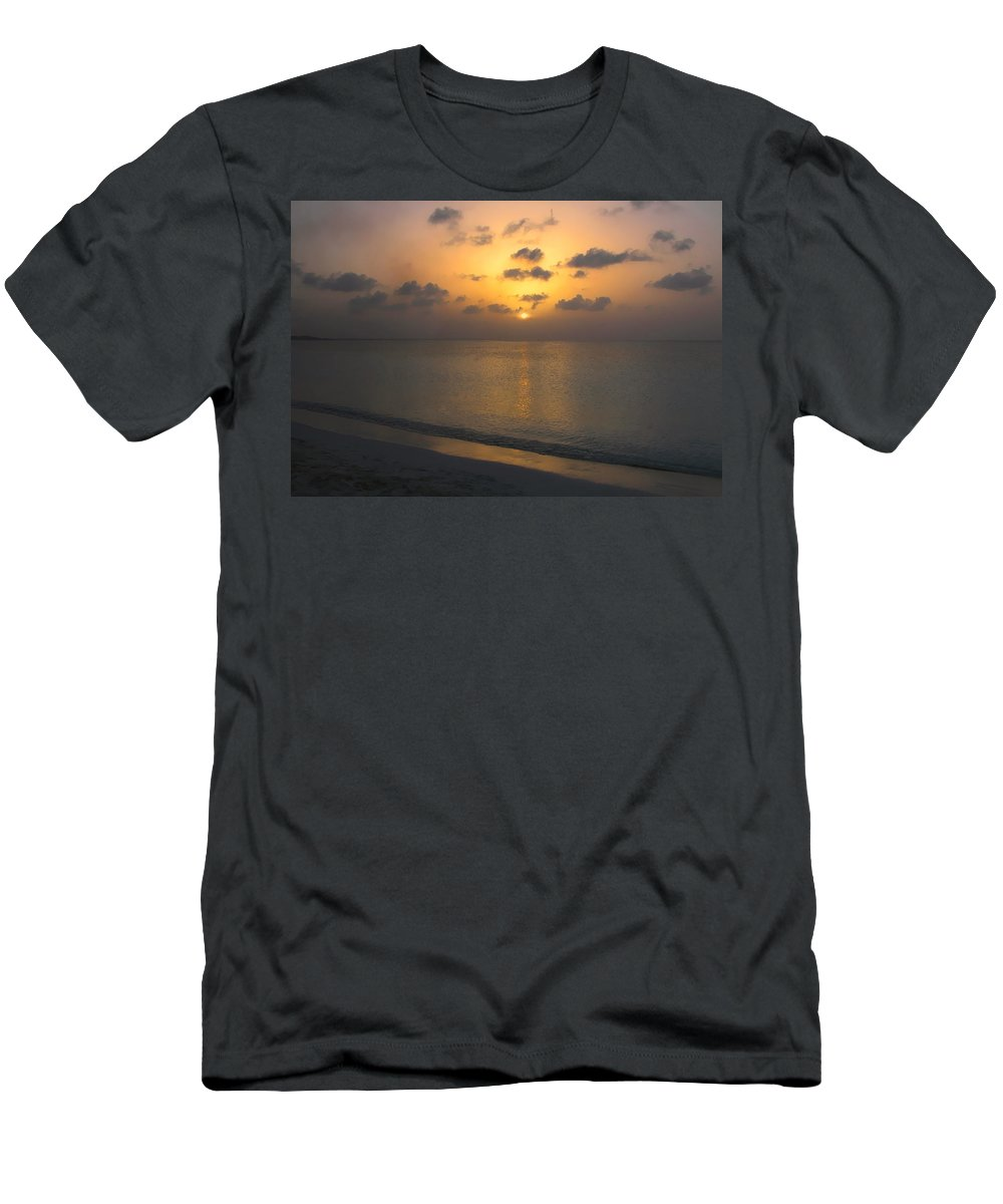 Beach Men's T-Shirt (Athletic Fit) featuring the photograph Silver Sea by Stephen Anderson