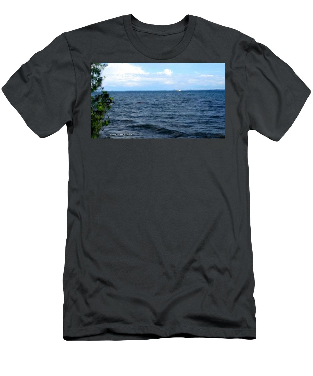 Ocean Men's T-Shirt (Athletic Fit) featuring the painting Silvias Ocean View by Bruce Nutting