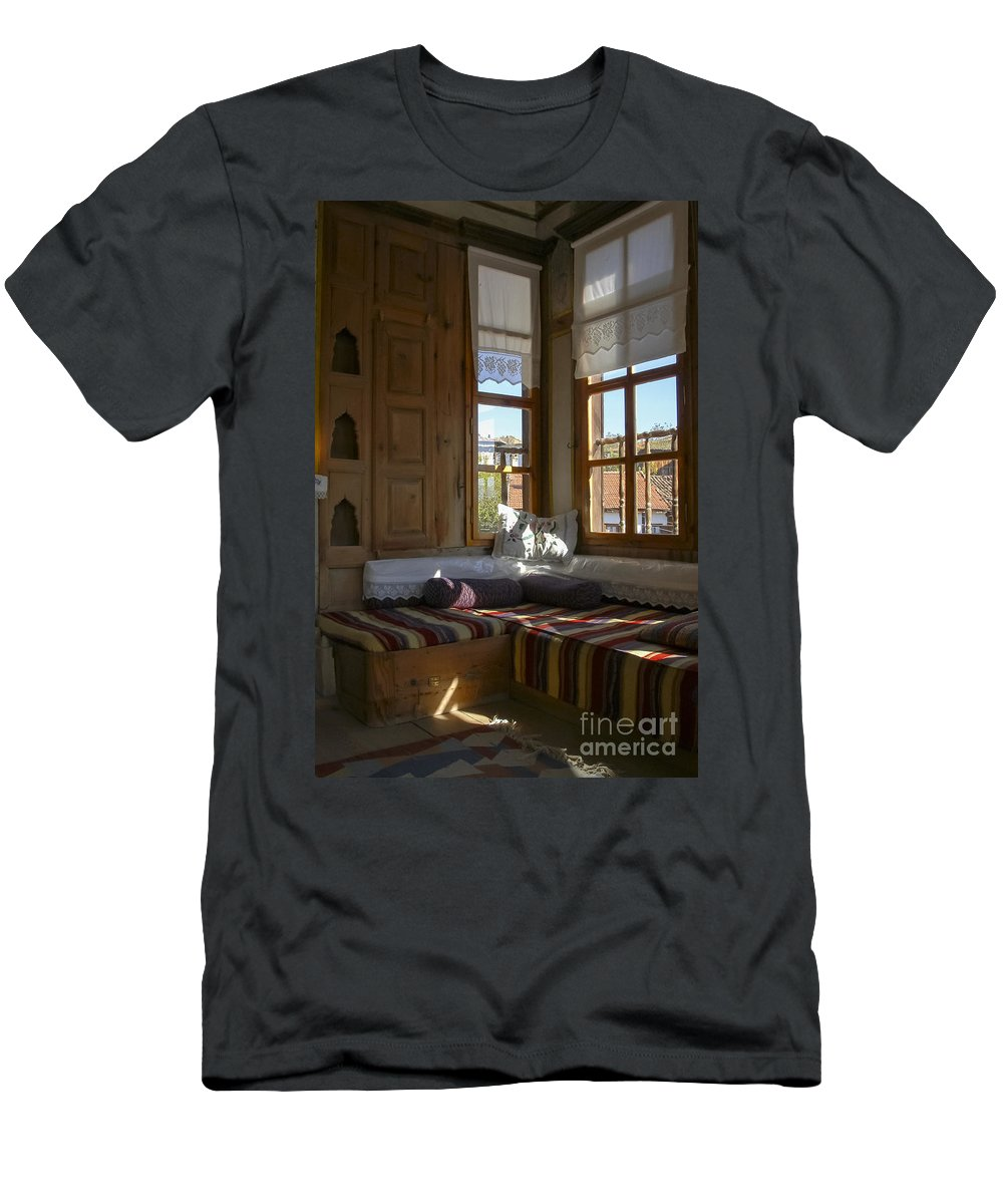 Sipahioğlu Konak Sipahioglu Ottoman Museum House Houses Interior Window Shades Windows Building Buildings Structures Architecture Shade Yoruk Village Safranbolu Turkey Men's T-Shirt (Athletic Fit) featuring the photograph Sipahioglu Museum by Bob Phillips
