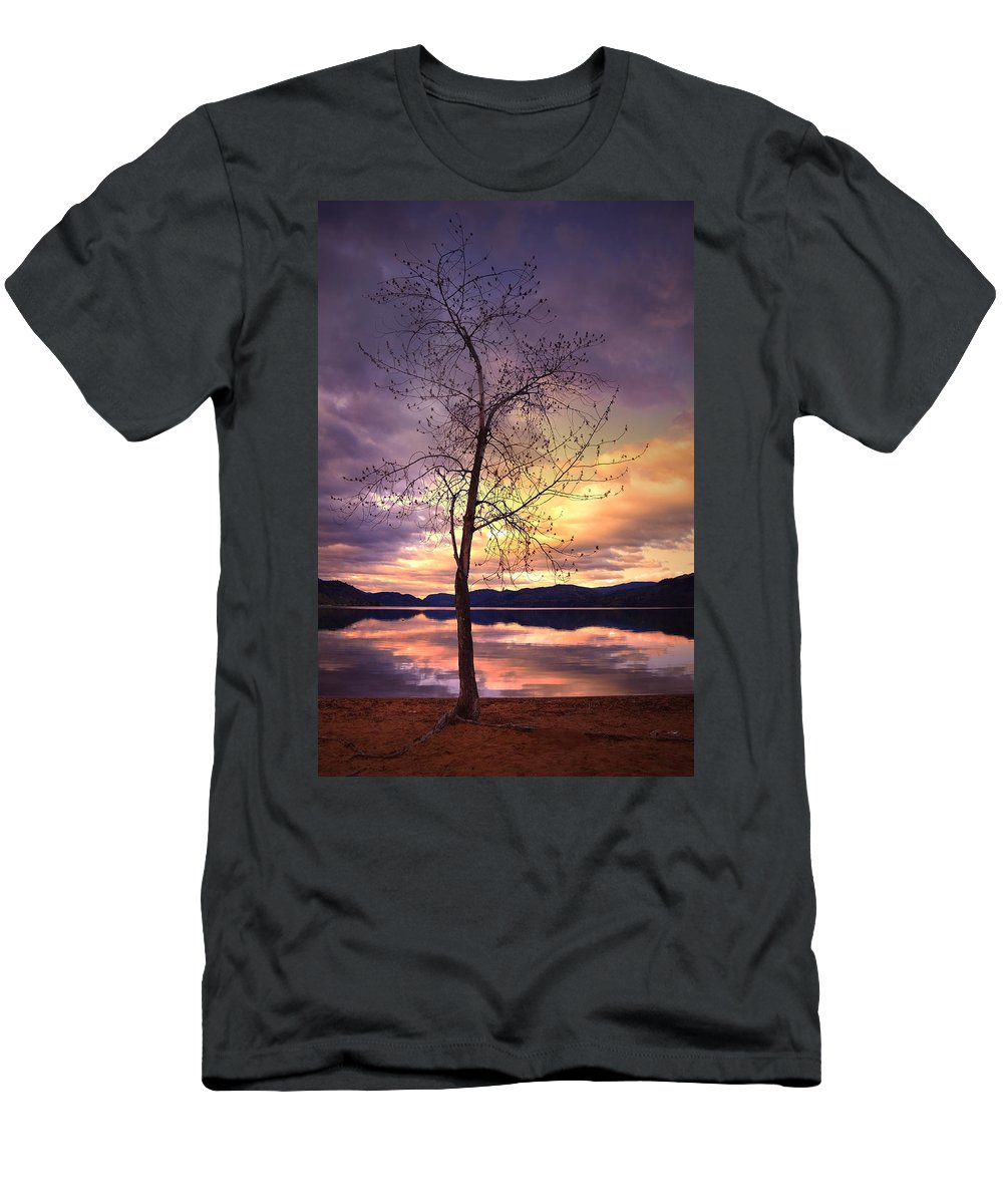 Saturday Men's T-Shirt (Athletic Fit) featuring the photograph Skaha Lake On A Saturday Morning by Tara Turner