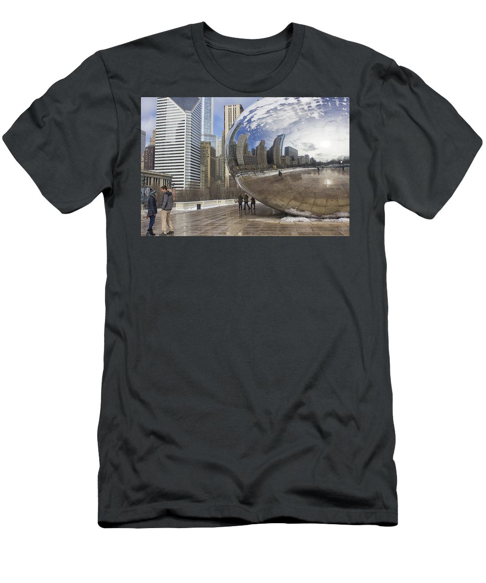 Chicago Men's T-Shirt (Athletic Fit) featuring the photograph Skyline Reflected by Jayme Spoolstra