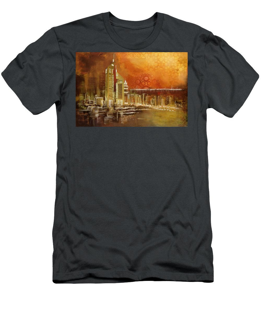 Dubai Men's T-Shirt (Athletic Fit) featuring the painting Skyline View by Corporate Art Task Force