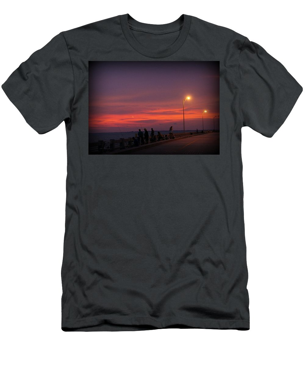 Sunshine Skyway Bridge Men's T-Shirt (Athletic Fit) featuring the photograph Skyway Fishing by Laurie Perry