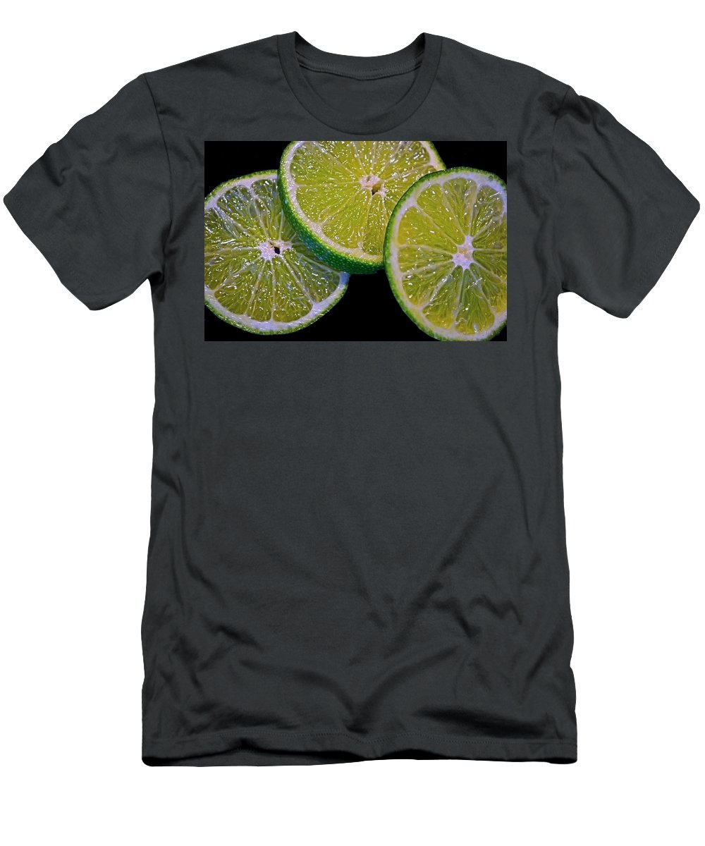 Limes Men's T-Shirt (Athletic Fit) featuring the photograph Sliced Limes by Sandi OReilly
