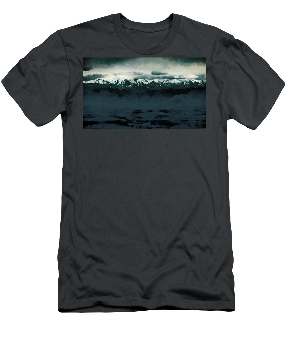 Southern Alps Men's T-Shirt (Athletic Fit) featuring the photograph Slippery Surface by Steve Taylor