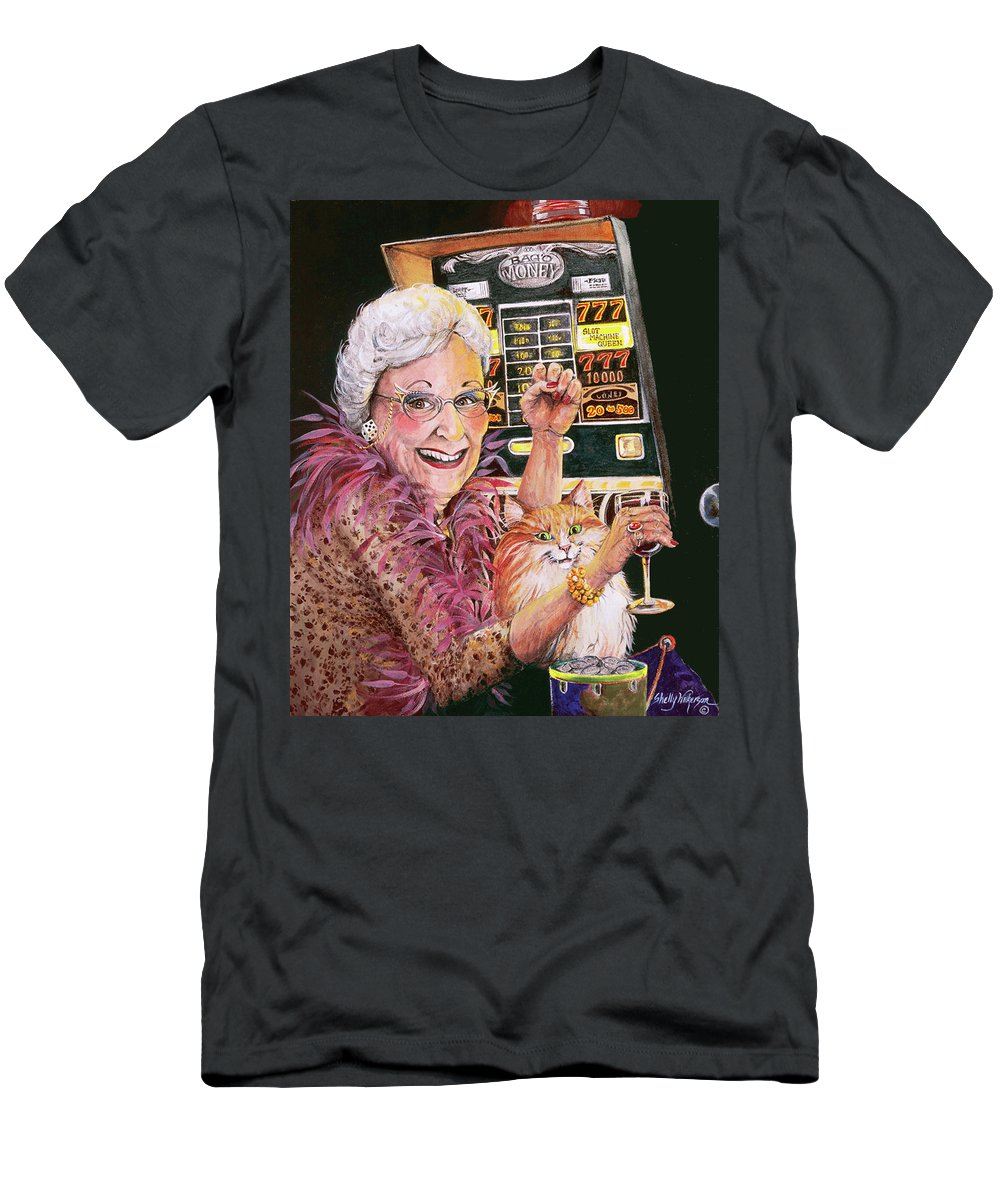 Slot Machine Men's T-Shirt (Athletic Fit) featuring the painting Slot Machine Queen by Shelly Wilkerson