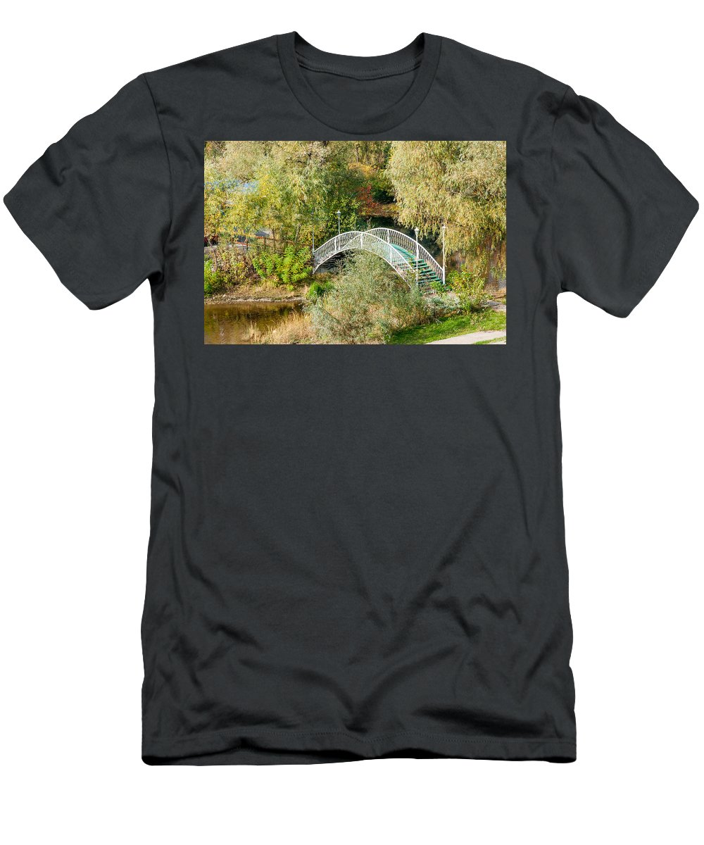 Kiev Men's T-Shirt (Athletic Fit) featuring the photograph Small Bridge In The Park by Alain De Maximy