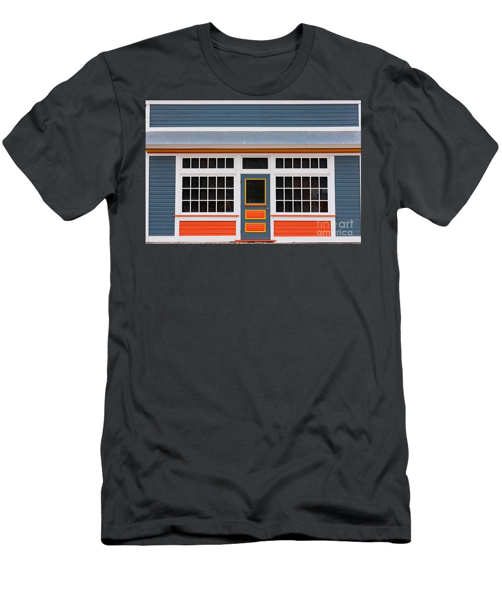 Abstract Men's T-Shirt (Athletic Fit) featuring the photograph Small Store Front Entrance Colorful Wooden House by Stephan Pietzko