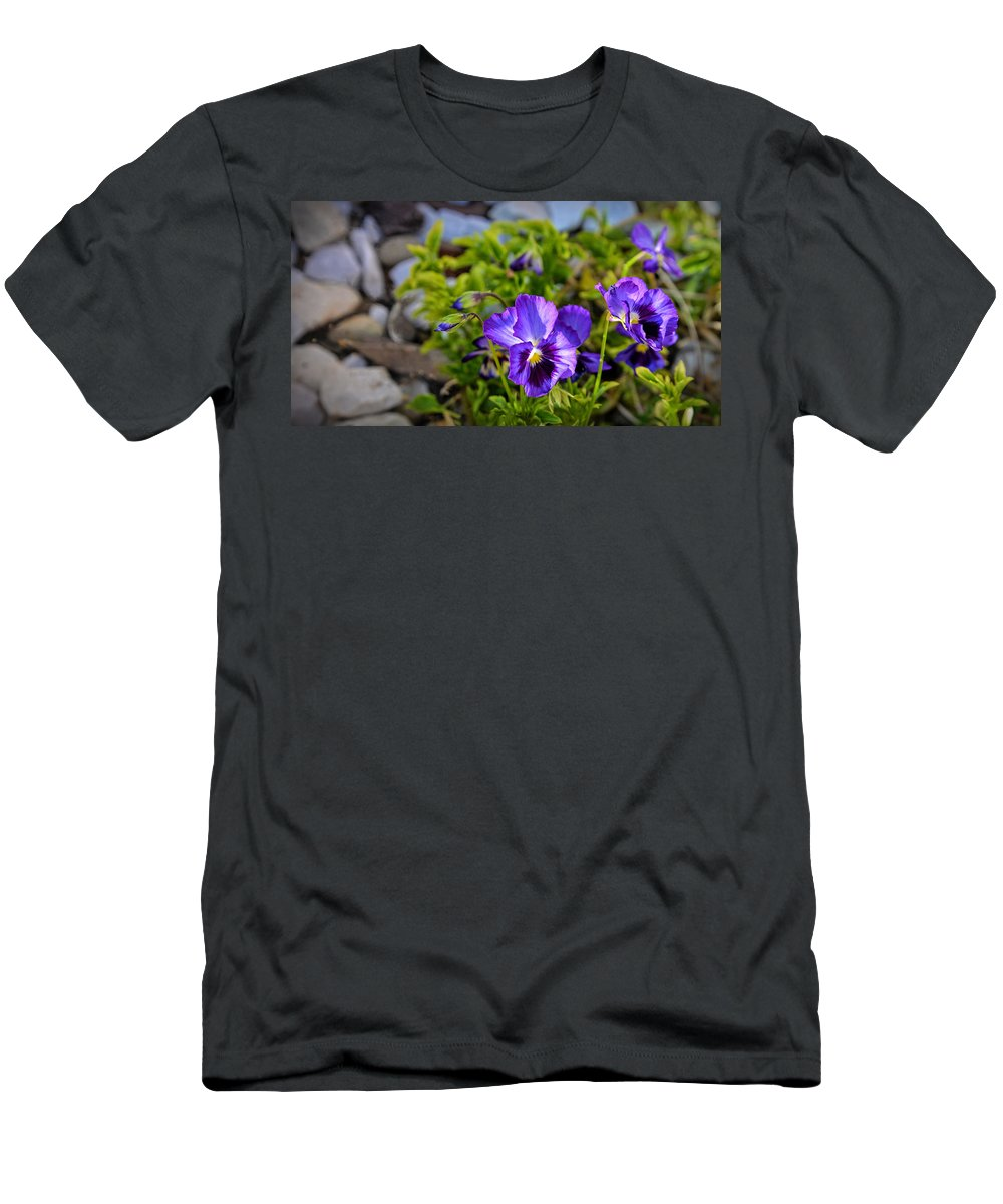 Pansy Men's T-Shirt (Athletic Fit) featuring the digital art Smiling Faces by Anita Hubbard