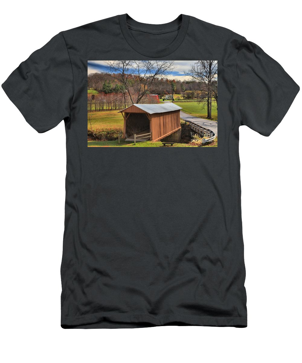 Smith River Men's T-Shirt (Athletic Fit) featuring the photograph Smith River Covered Bridge by Adam Jewell