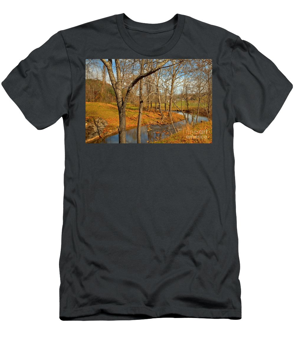 Jacks Creek Men's T-Shirt (Athletic Fit) featuring the photograph Smith River Virginia by Adam Jewell