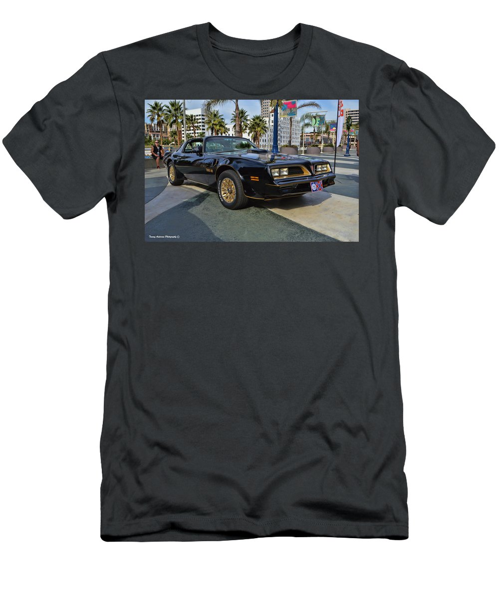 1977 Pontiac Firebird Trans Am Men's T-Shirt (Athletic Fit) featuring the photograph Smokey And The Bandit by Tommy Anderson