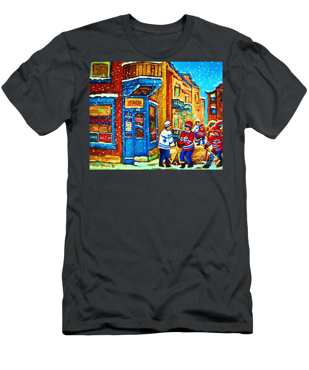 Wilenskys Men's T-Shirt (Athletic Fit) featuring the painting Snow Falling On The Game by Carole Spandau