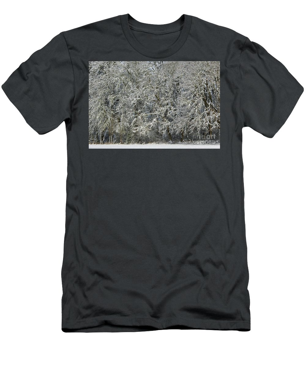 Nature Men's T-Shirt (Athletic Fit) featuring the photograph Snow On Trees by John Shaw