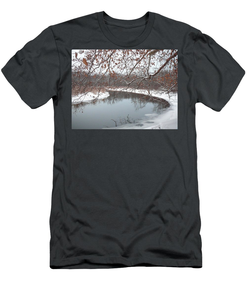 Highland Township Men's T-Shirt (Athletic Fit) featuring the photograph Snowy River by Two Bridges North