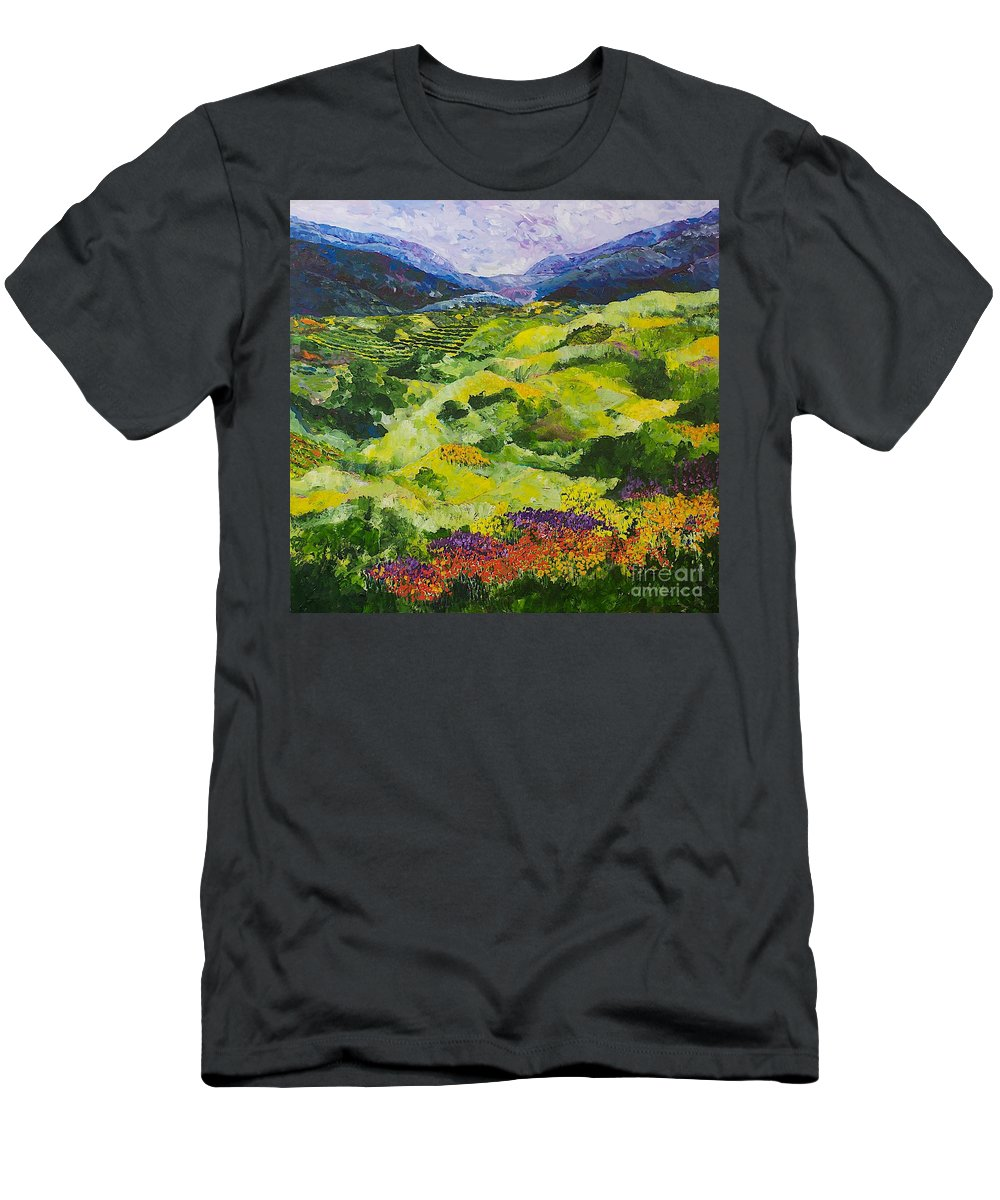 Landscape Men's T-Shirt (Athletic Fit) featuring the painting Soft Grass by Allan P Friedlander