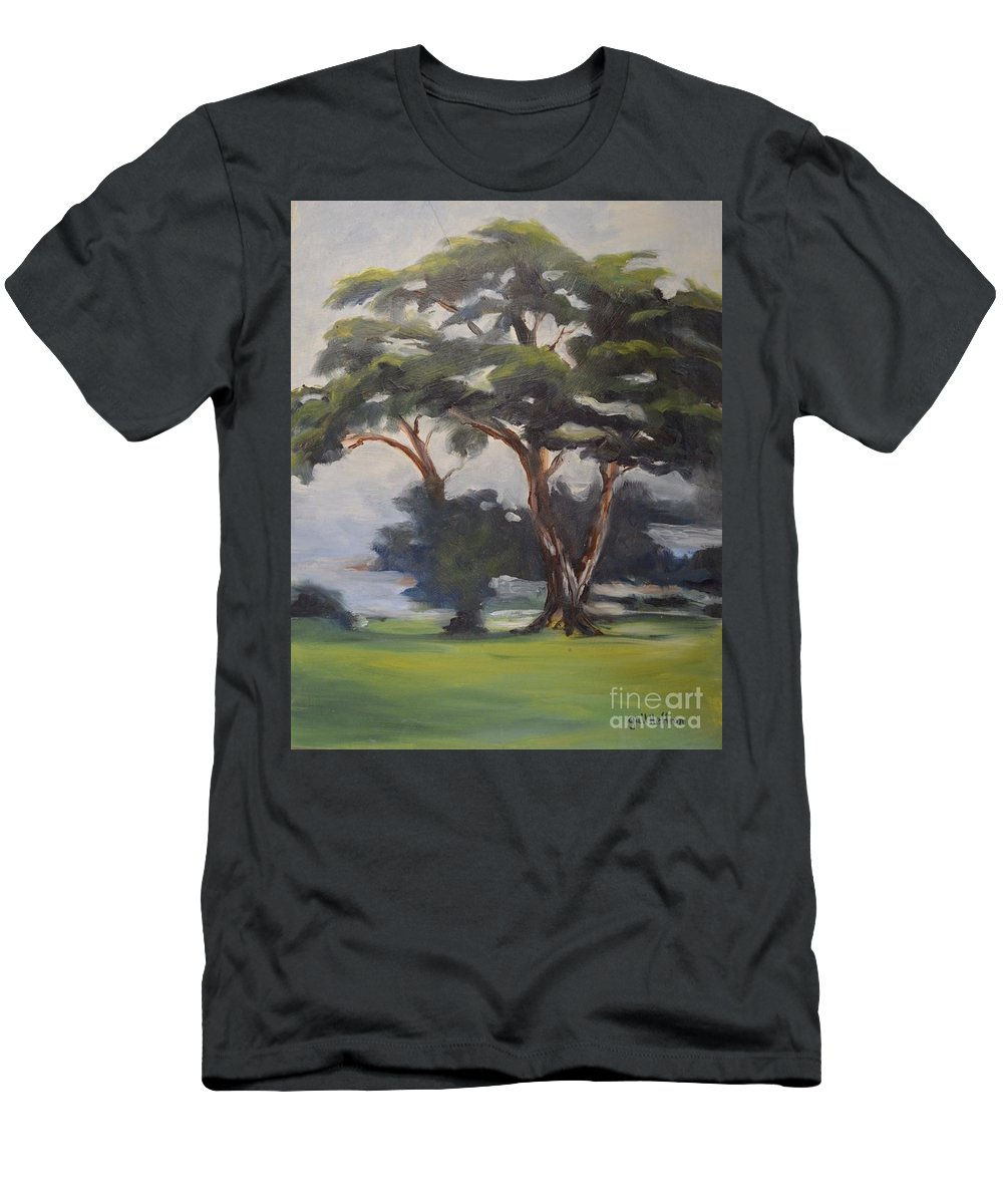 Tree Men's T-Shirt (Athletic Fit) featuring the painting Soft Trees by Gail Heffron