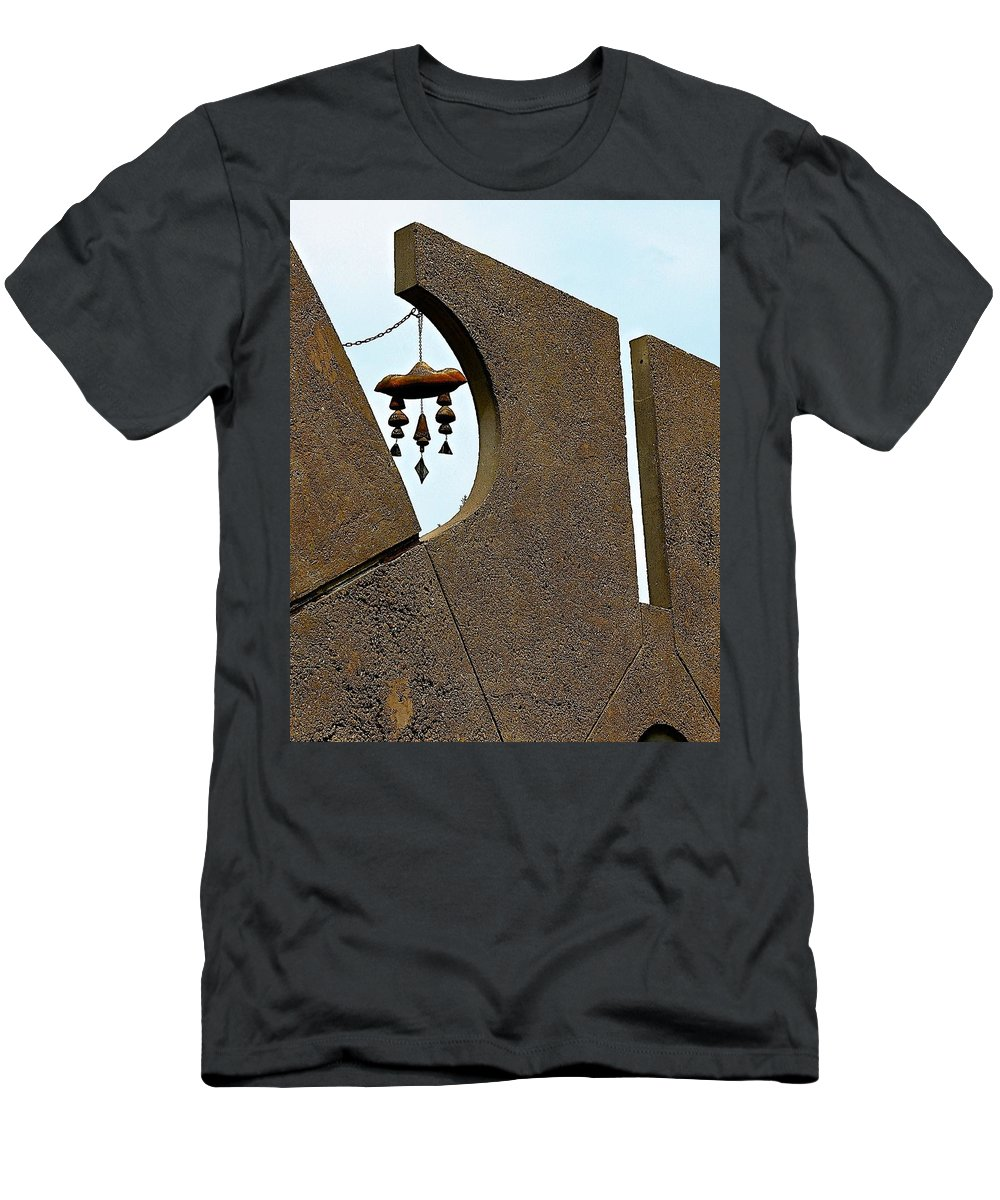 Arcosanti Men's T-Shirt (Athletic Fit) featuring the photograph Soleri Bells by Barbara Zahno