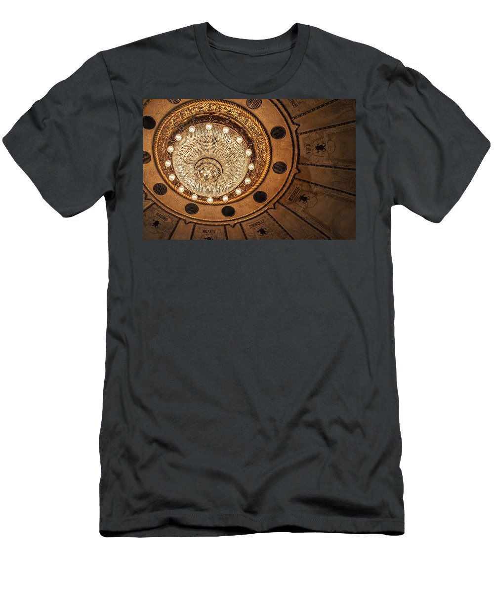 Montevideo Men's T-Shirt (Athletic Fit) featuring the photograph Solis Theater Ceiling by Jess Kraft