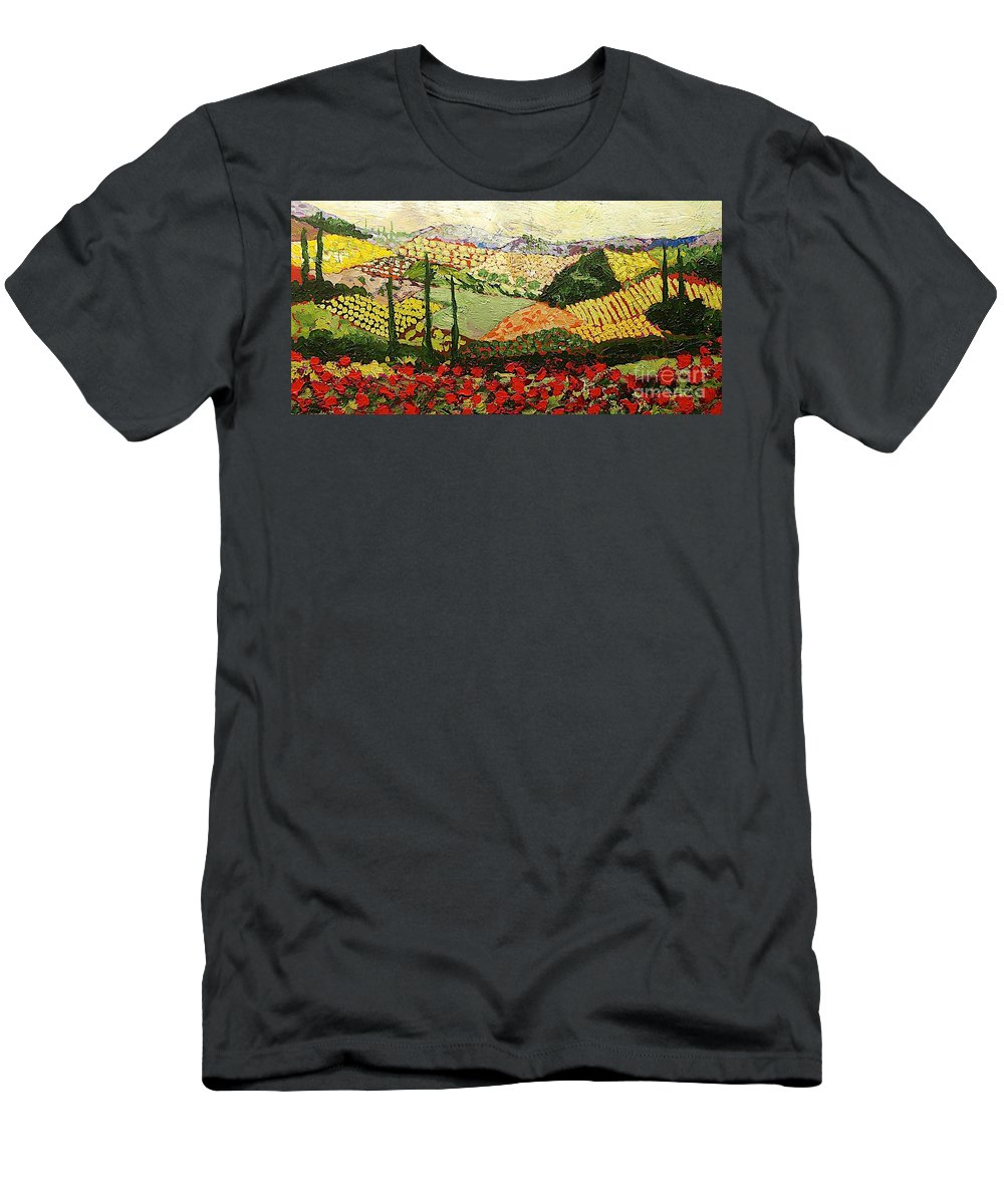 Landscape Men's T-Shirt (Athletic Fit) featuring the painting Something Red by Allan P Friedlander