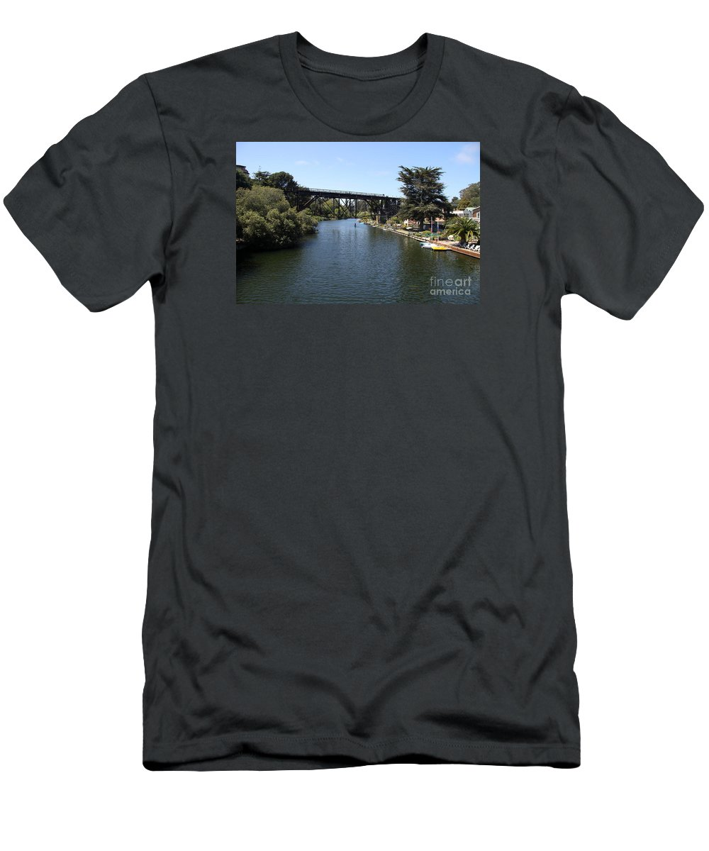 Soquel Creek Men's T-Shirt (Athletic Fit) featuring the photograph Soquel Creek Capitola by Christiane Schulze Art And Photography