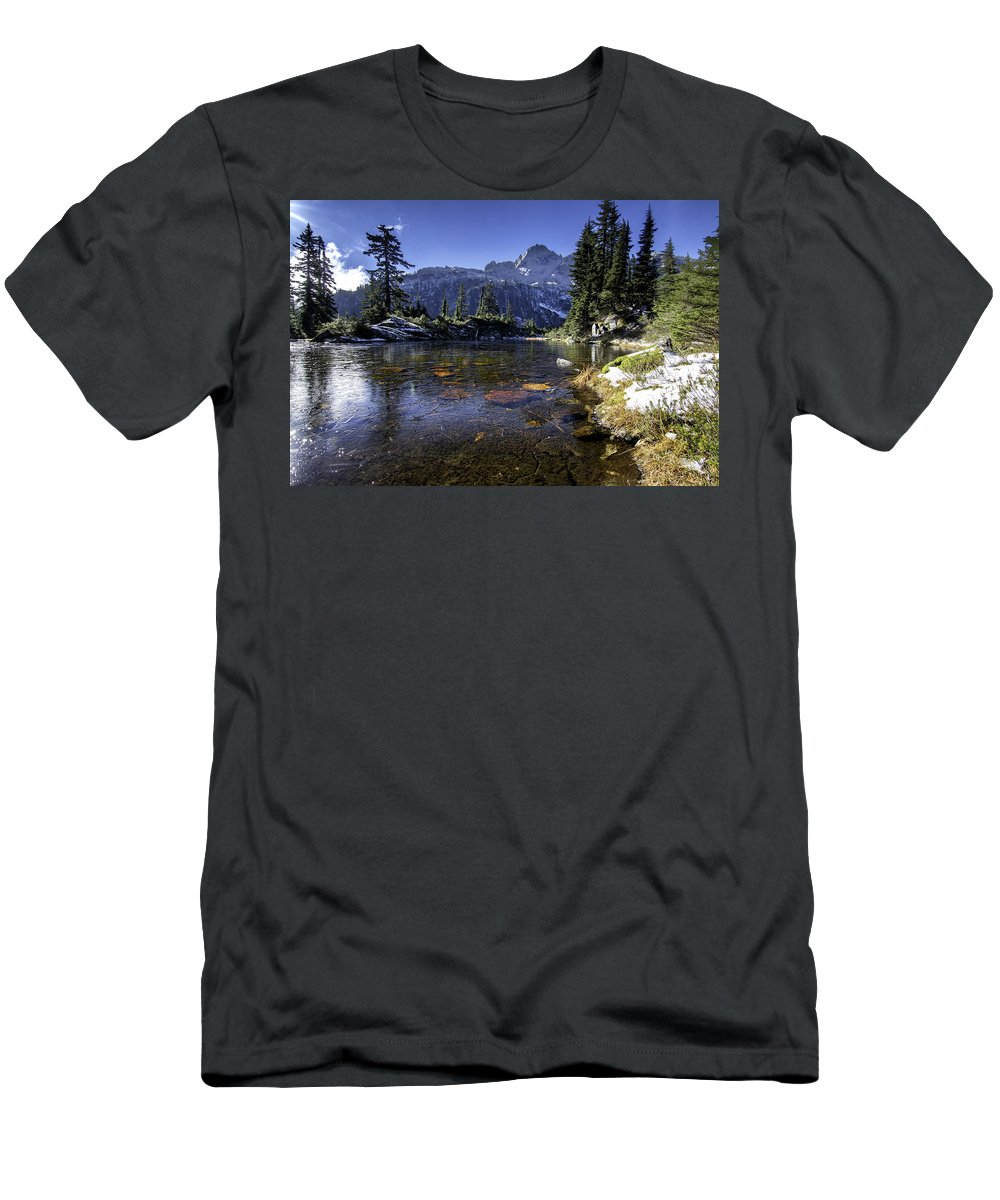 Alpine Lakes Wilderness Men's T-Shirt (Athletic Fit) featuring the photograph Source by Ryan McGinnis