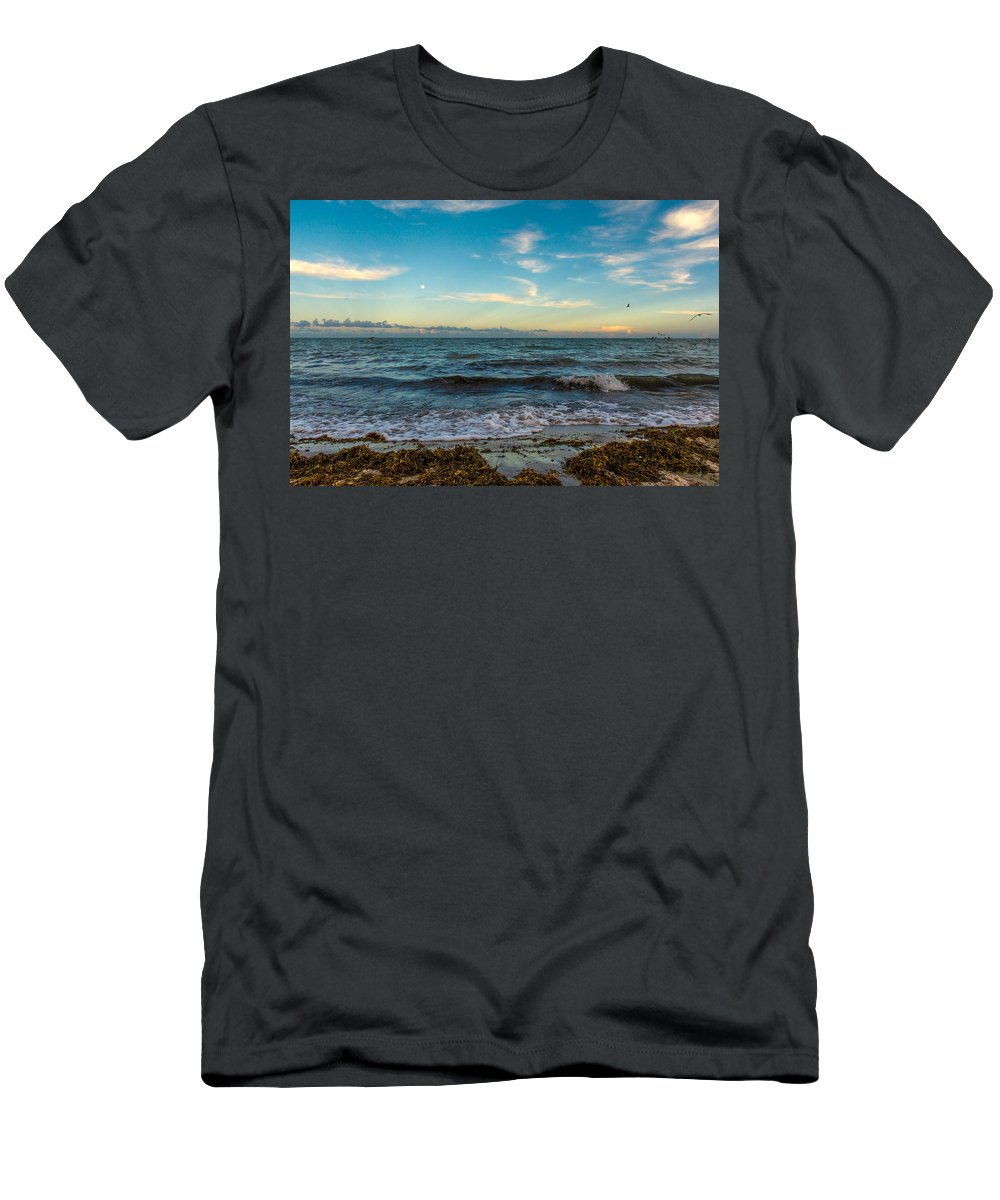 South Beach Sunset Men's T-Shirt (Athletic Fit) featuring the photograph South Beach Sunset by Manuel Lopez
