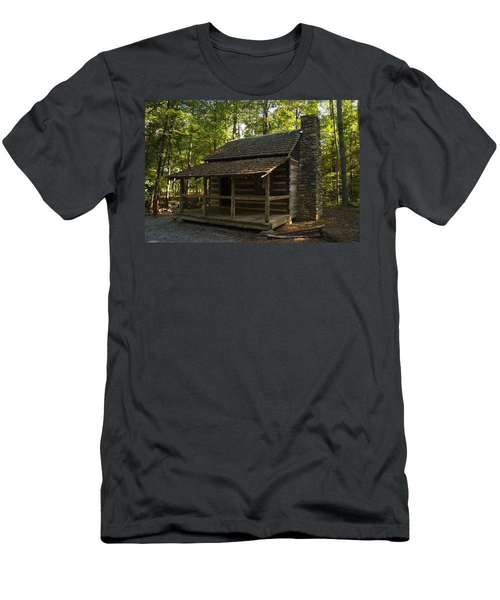 Log Cabin Men's T-Shirt (Athletic Fit) featuring the digital art South Carolina Log Cabin by Chris Flees