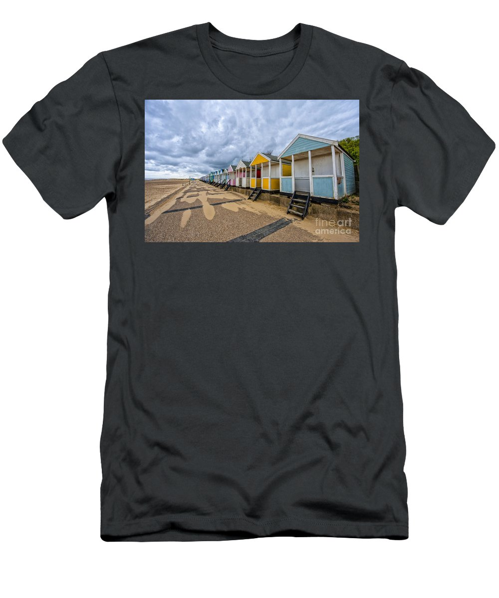Southwold Men's T-Shirt (Athletic Fit) featuring the photograph Southwold Beach Huts 4 by Julian Eales