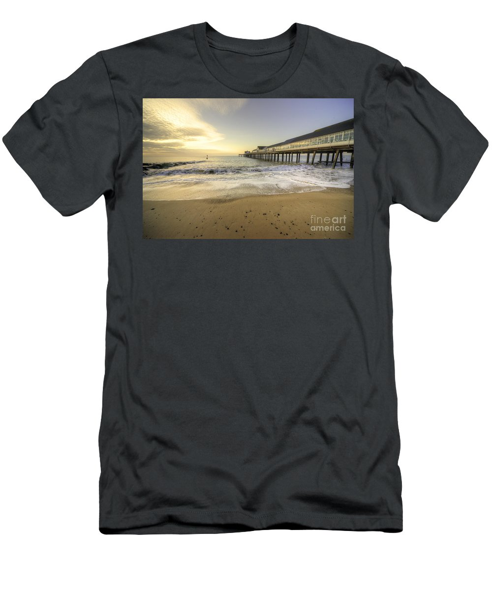 Southwold Men's T-Shirt (Athletic Fit) featuring the photograph Southwold Pier by Rob Hawkins