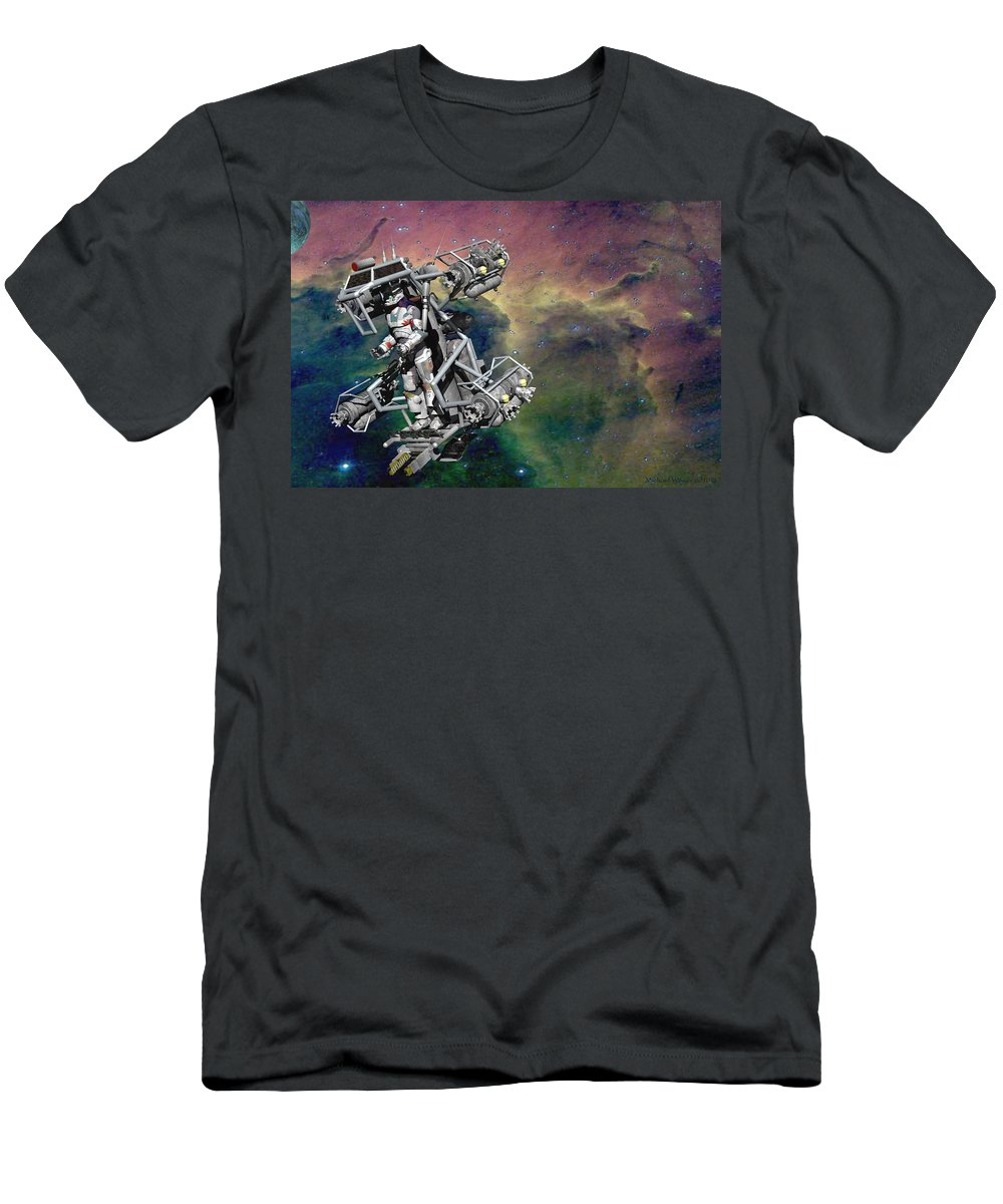 Digital Art Men's T-Shirt (Athletic Fit) featuring the digital art Space Walk Pod by Michael Wimer