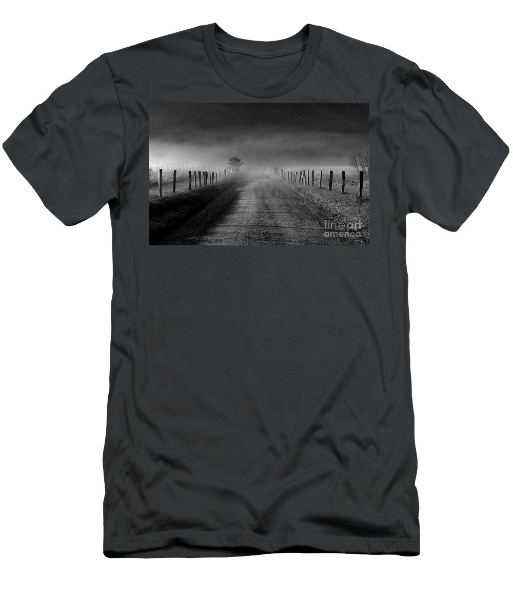 Fence Men's T-Shirt (Athletic Fit) featuring the photograph Sparks Lane In Black And White by Douglas Stucky