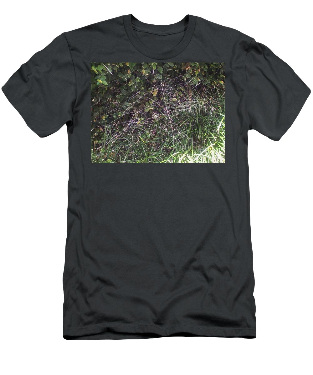 Spider Men's T-Shirt (Athletic Fit) featuring the photograph Spider Web Art. by Tina Vaughn