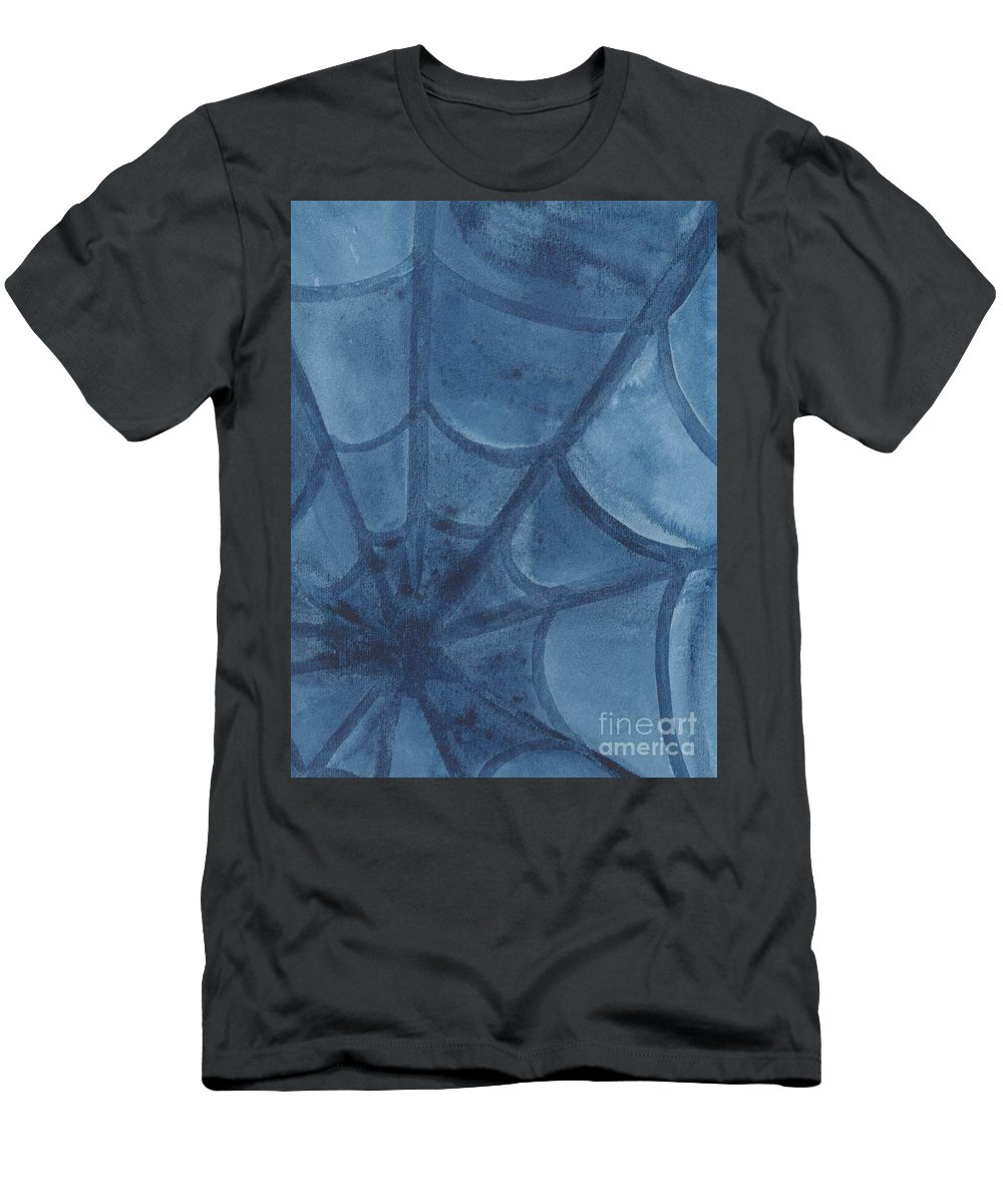 Web Men's T-Shirt (Athletic Fit) featuring the painting Spiders Web by Kerstin Ivarsson