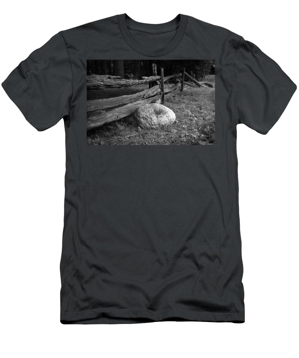 B&w Men's T-Shirt (Athletic Fit) featuring the photograph Split Rail Fence And Rock I by Richard Clayton