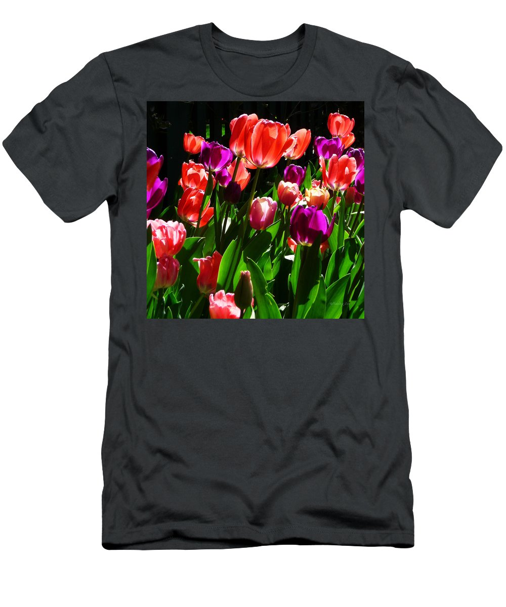 Tulips Men's T-Shirt (Athletic Fit) featuring the photograph Spring Blossom 5 by Xueling Zou