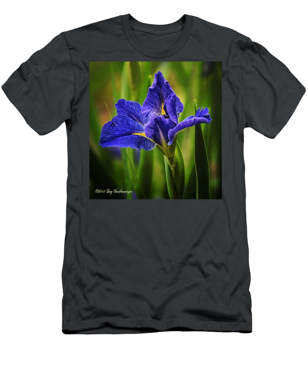 Spring T-Shirt featuring the photograph Spring Blue Iris by Lucy VanSwearingen